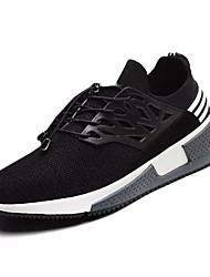 abordables -Hombre Zapatillas de Atletismo Confort PU Primavera Otoño Deportivo Paseo Confort Con Cordón Tacón Plano Negro Gris Plano