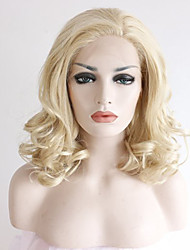 Women Synthetic Wig Lace Front Medium Length Curly Blonde Natural Hairline Side Part Natural Wigs Costume Wig