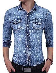 cheap -Men's Punk & Gothic Boho Cotton Denim Shirt - Galaxy Jacquard Stars Modern Style Stylish Jacquard