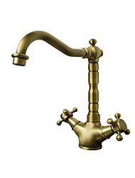 Antique Bar/­Prep Deck Mounted Ceramic Valve One Hole Two Handles One Hole Antique Brass , Kitchen faucet