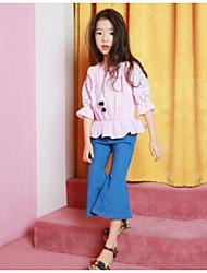 Mädchen Bluse einfarbig Baumwolle Sommer Kurzarm