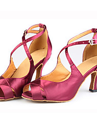 "Women's Latin Silk Sandals Performance Criss-Cross Stiletto Heel Drak Red 3"" - 3 3/4"" Customizable"