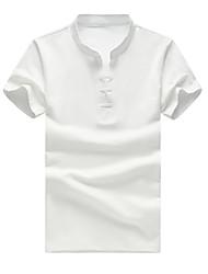 preiswerte -Herren Solide Einfach Lässig/Alltäglich Übergröße Polo,V-Ausschnitt Sommer Kurzarm Baumwolle Elasthan Mittel