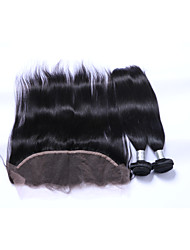 cheap -2Bundles 200g Natural Black Straight Brazilian Remy Hair Wefts with 1Pcs Free Part 13x4  Ear To Ear Lace Frontal Closures Human Hair Extensions/Weaves