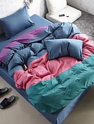 cheap -Color Block 4 Piece Cotton Cotton 1pc Duvet Cover 2pcs Shams 1pc Flat Sheet