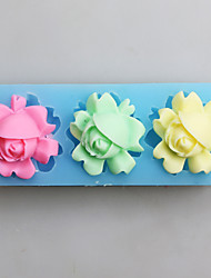 cheap -Three Flowers Fondant Mold DIY Silicone Soap Candle Mold Handmade Soap Salt Carved DIY Silicone Food Grade Silicone Mold
