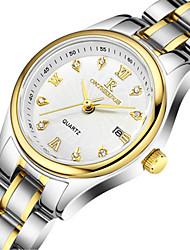 baratos -Mulheres Relógio de Moda Quartzo Prata / Dourada 30 m Impermeável Calendário Analógico senhoras - Prateado / Branco Ouro / Branco Preto / Prateado
