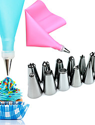 cheap -14 Pcs/Set Random Color Silicone Icing Piping Cream Pastry Bag 12PCS Stainless Steel Nozzle Pastry Tips  1 Converter DIY Cake Decorating Tools