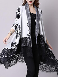 cheap -Women's Daily Casual Long Cardigan,Print V Neck Long Sleeves Cotton Winter Fall Medium Inelastic