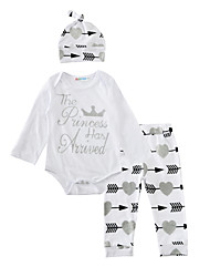 Baby Kids' Daily Birthday Casual Baby Shower Print Clothing Set Spring/Fall 3pcs Outfits Heart Design  Romper Pants with Caps Kids Boys