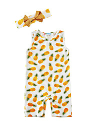 Baby Print One-Pieces Cotton Blends Summer Sleeveless Pineapple Baby Girls Boys Romper with Headband Bodysuits Jumpsuits