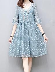 cheap -Women's Daily Skater Dress,Print V Neck Knee-length Half Sleeves Polyester Summer High Rise Inelastic Medium