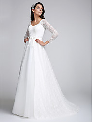 cheap -A-Line V Neck Court Train All Over Lace Custom Wedding Dresses with Lace by LAN TING BRIDE®