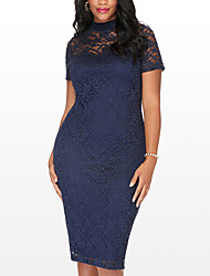 cheap -Women's Plus Size Going out Street chic Bodycon Dress - Patchwork Lace Cut Out High Rise Crew Neck