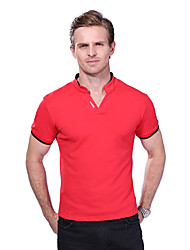 Men's Summer Fashion Solid V Neck Letter Printed Collar Short Sleeve Polos Cotton Spandex Medium/Plus Size Casual/Daily Simple