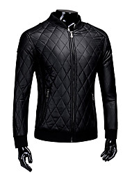 Men's Casual/Daily Vintage Fall Winter Leather Jacket,Solid Stand Long Sleeve Regular PU