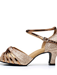 Women's Latin Sparkling Glitter Paillette Synthetic Sandals Heels Sneakers IndoorRuffles Buckle Ruched Sparkling Glitter Tassel(s)