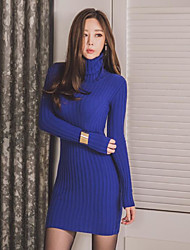 Women's Party Bodycon Dress,Solid Stand Above Knee Long Sleeve Others Winter Mid Rise Stretchy Thick