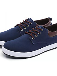 Men's Sneakers Light Soles Spring Fall PU Casual Lace-up Flat Heel Black Gray Navy Blue 2in-2 3/4in