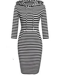 Feminino Tubinho Vestido,Casual Simples Sólido Listrado Com Capuz Altura dos Joelhos Manga 3/4 Algodão Outono Cintura Média Micro-Elástica