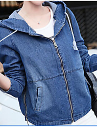 cheap -Women's Daily Modern/Contemporary Fall Denim Jacket,Solid Hooded Long Sleeve Short Others