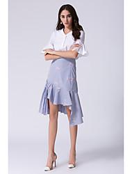 cheap -JOJO HANS Women's Office / Career Formal Work Chic & Modern Bolster Shirts Summer Shirt Skirt Suits,Flower/Floral V Neck 1/2 Length Sleeve Ruffle