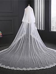 cheap -Two-tier Lace Applique Edge Wedding Veil Chapel Veils With Applique Sequin Satin Flower Embroidery Lace Tulle