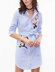 Camicia Vestito Da donna-Casual Moda città A strisce Colletto Sopra il ginocchio Manica lunga Rayon Poliestere Per tutte le stagioniA