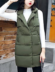 Women's Long Padded Vest Coat Simple Plus Size Casual/Daily Solid-Nylon Polypropylene Sleeveless Army Green /Wine /Yellow /Black Fall /Winter
