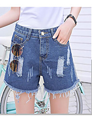 Women's High Waist strenchy Jeans Pants,Sexy Active Simple Relaxed Loose Pure Color Ripped Solid