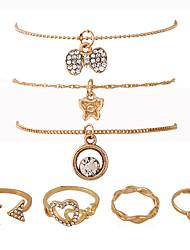 Women's Chain Bracelet Charm Bracelet Wrap Bracelet Fashion Punk Rock Metal Alloy Rhinestone Metallic Alloy Geometric Jewelry ForStreet