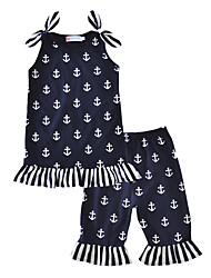 Anchor Baby Girl's Cotton Outdoor Indoor Casual/Daily Print Clothing Set Summer Vest Pants 2 pcs Outfits for Kids Girls