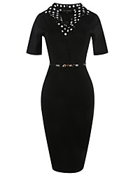 Women's Going out Casual/Daily Work Vintage Simple Street chic Bodycon Sheath Dress,Solid Polka Dot V Neck Knee-length Short SleeveCotton