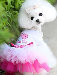 baratos -Cachorro Vestidos Roupas para Cães Casual Princesa Azul Rosa claro Ocasiões Especiais Para animais de estimação