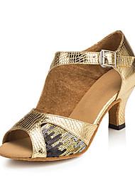 """economico -Da donna Balli latino-americani Similpelle Sandali Esibizione Paillettes Tacco cubano Oro 2 """"- 2 3/4"""" Personalizzabile"""