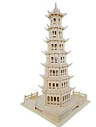 cheap -3D Puzzles Jigsaw Puzzle Wood Model Model Building Kit Circular Tower Famous buildings House Architecture Simulation Wood Natural Wood