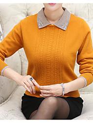 Standard Cashmere Da donna-Casual Semplice Tinta unita Colletto Manica lunga Altro Autunno Inverno Medio spessore Media elasticità
