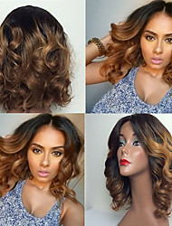 cheap -Human Hair Glueless Lace Front / Lace Front Wig Body Wave Wig 130% Ombre Hair / Natural Hairline / African American Wig Women's Short / Medium Length / Long Human Hair Lace Wig / 100% Hand Tied