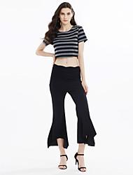 Mujer Casual Tiro Medio Microelástico Ajustado a la Bota Chinos Pantalones,Un Color Poliéster Todo el Año