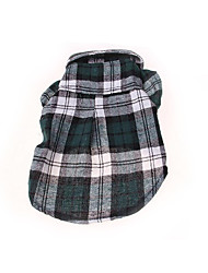 cheap -Dog Shirt / T-Shirt Dog Clothes Plaid/Check Red Green Blue Cotton Costume For Pets Men's Women's Casual/Daily