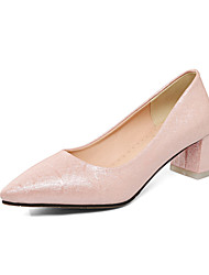 Women's Shoes Heels Comfort Leatherette Spring Fall Casual Party & Evening Dress Comfort Chunky Heel Blushing Pink Blue White Gold 1in-1 3/4in