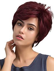 Недорогие -Человеческие волосы без парики Натуральные волосы Прямой Классика Высокое качество Машинное плетение Парик Повседневные