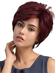 abordables -Pelucas del pelo humano del pelo corto de la franja parcial mullida natural para la mujer