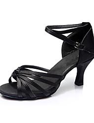 Da donna Balli latino-americani Seta Sandali Per interni Tacco su misura Nero Personalizzabile
