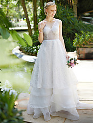 cheap -A-Line V-neck Sweep / Brush Train Organza Sequined Wedding Dress with Sequins Tiered by LAN TING BRIDE®