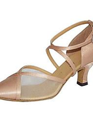 """Women's Modern Silk Sandal Performance Buckle Cuban Heel Black Almond 3"""" - 3 3/4"""" Customizable"""