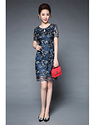 cheap -YBKCP Women's Vintage Chinoiserie Slim Sheath Dress - Embroidered, Artistic Style