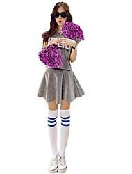 Fantasias para Cheerleader Roupa Mulheres Apresentação Cetim Elástico 2 Peças Manga Curta Alto Saias Blusas