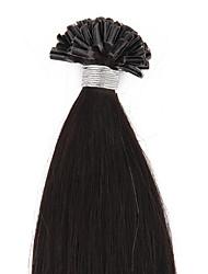 baratos -Queratina / Ponta U Extensões de cabelo humano Liso Cabelo Remy Loiro Loiro Platina Vinho escuro