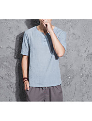 Men's Going out Casual/Daily Simple Summer T-shirt,Solid Floral Round Neck Short Sleeves Linen Others